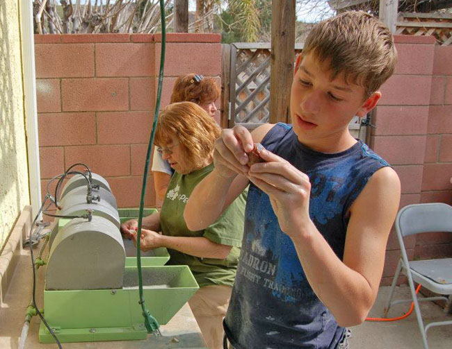 Evelyn and Morgan working on Goliath.