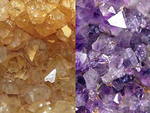 Some petrified logs contain a spectacular surprise. Cavities within them served as crystallization locations for quartz crystals such as the citrine (yellow, left ) and amethyst (purple, right) shown here. Images by Petrified Forest National Park.