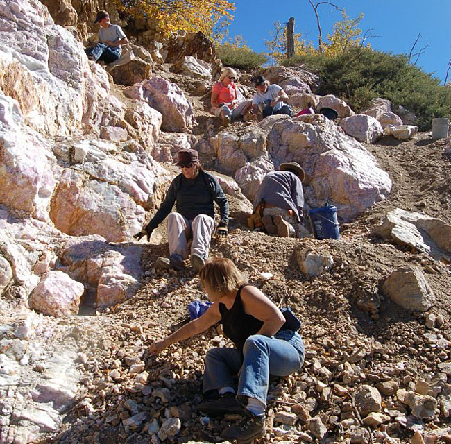 The rose quartz was plentiful, but quite difficult to work from the side of the hill. It was quite steep and the rock was very hard.
