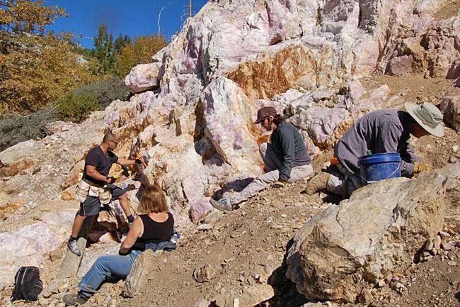 Shot of the hillside made of the rose quartz.