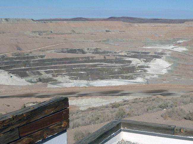 Atop Borax showroom looking down at Borax mine in Boron.