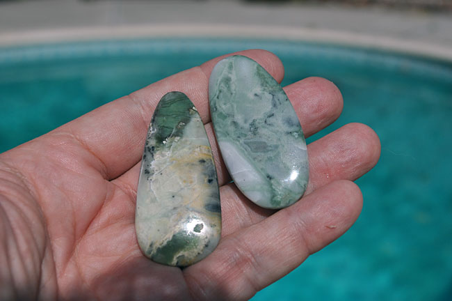 Nice pieces I shaped and polished of the green marble from Stoddard Well.